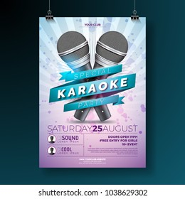 Vector Flyer illustration on a Karaoke Party theme with microphones and ribbon on violet background.
