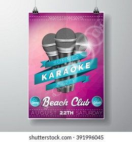 Vector Flyer illustration on a Summer Karaoke Party theme with microphones and ribbon on violet background. Eps 10 design.