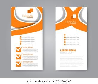 Vector flyer and leaflet design. Set of two side brochure templates. Vertical banners.  Orange color.