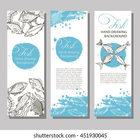 Vector flyer with linear silhouettes of fish and blue splashes in the background. Sketch of bream, carp, trout, salmon, sturgeon, perch in vintage style. Brochures with fishes illustrations for design