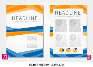 Vector flyer, poster, leaflet, annual report design template with sample text. Layout design, flyer A4 paper design template, leaflet blank, business vector illustration, presentation.
