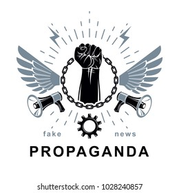 Vector flyer template created using clenched fists raised up, loudhailer equipment and iron chain element. Freedom for the personality, misleading and brainwashing propaganda information.