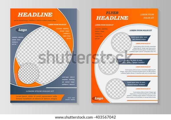 Vector flyer template design. For business brochure, leaflet or magazine cover. Grey orange color