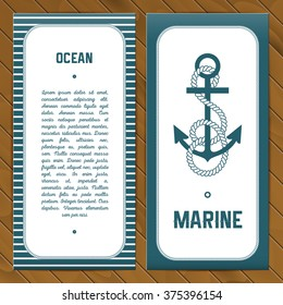Vector flyer template in ocean style with anchor with rope. Wooden background.