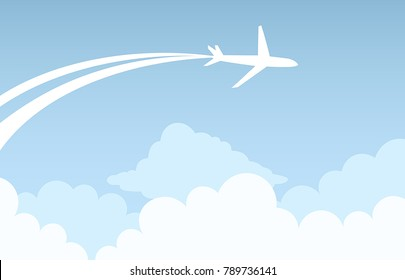 Vector flying airplane in the sky.
