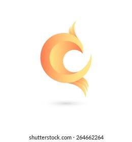 Vector flying bird icon. Logo design template, eps 10.