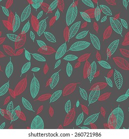 Vector flying colored leaves in arbitrary compositions Seamless pattern