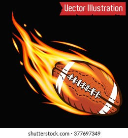 Vector flying flaming American football ball on a black background
