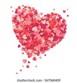 Vector flying heart made from pink and red confetti on white background