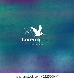 Vector flying pelican logo design template on colorful watercolor background