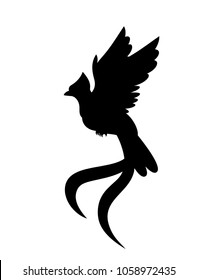 Vector flying quetzal bird silhouette