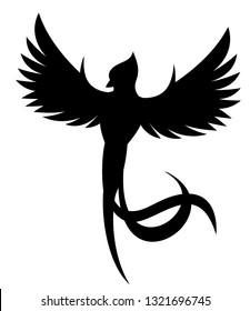 Vector flying quetzal bird silhouette front view