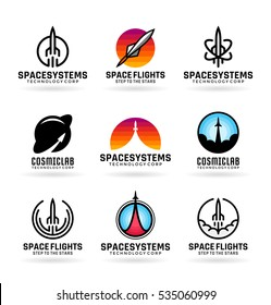 Vector flying rockets, space shuttles, spaceship launch, aviation. Icons, logo design ideas and logotype templates