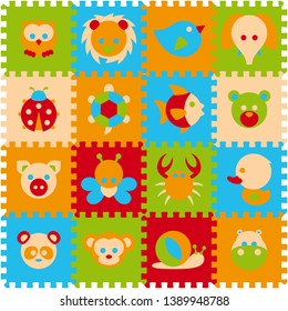Vector foam baby kids play mat animals puzzle. Owl, lion, bird, elephant, ladybird, turtle, fish, bear, pig, butterfly, crab, duck, panda, monkey, snail, hippo.  Isolated on white background