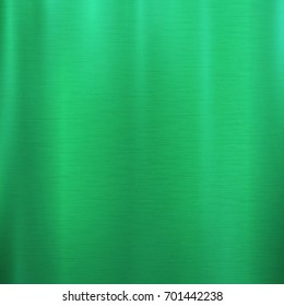 Vector foil emerald green metallic texture with shiny scratched surface, polished imitation background. Brushed steel, aluminum or chrome glowing illustration for posters, ads, prints, banners.