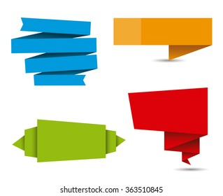 Vector folded paper banners in different colors for write texts and titles.