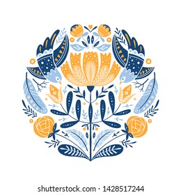 Vector Folk art round ornament  with birds, roses, and flowers, Scandinavian design in circle, floral composition.  Swedish and Norwegian motives