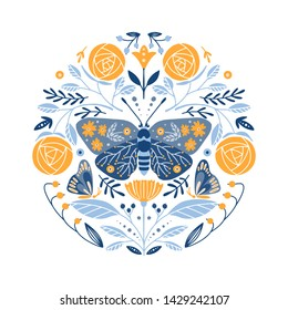 Vector Folk art round ornament  with butterflies, roses, and flowers, Scandinavian design in circle, floral composition.  Swedish and Norwegian motives