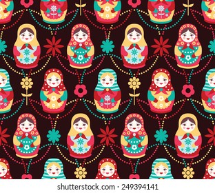 Vector folk seamless pattern with colorful cute russian dolls