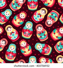 Vector folk seamless pattern with colorful cute Russian dolls. Matryoshka background