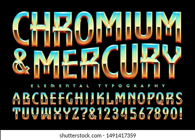 Vector font alphabet. Chromium and Mercury is a beveled reflective lettering style with echoes of 1980s airbrush lettering and geometric characters.