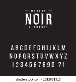 Vector font. Alphabet and numbers in modern noir style.