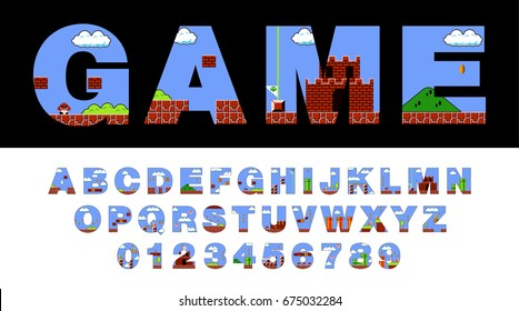 Vector font and alphabet stylized as an old retro video game.