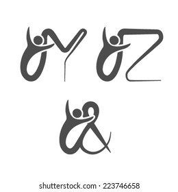Vector font alphabet with symbol of human - simple letters - Y, Z, the sign & - ampersand