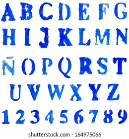 Vector font  in blue colors. Hand drawn letters and numbers. Set of numbers letters in words for design illustration , backgrounds , textures , wallpaper,computer technologies,creation of clothing.