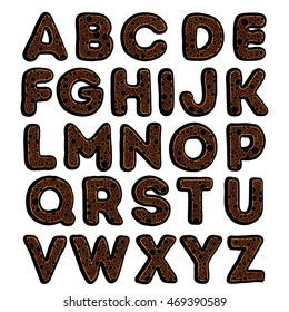 Vector font in the form of cakes. ABC of gingerbread