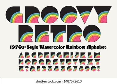 Vector font: A groovy retro extra bold watercolor rainbow alphabet with a 1970s look.