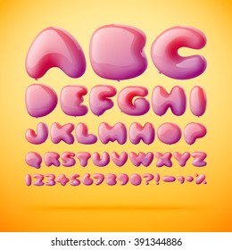 Vector font made from balloons in letters shape. Gradient mesh