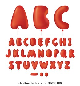 Vector font made from balloons in letters shape
