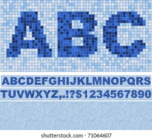 Vector font made of truelike mosaic with background. Blue as in swimming pool.