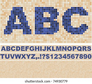 Vector font made of truelike mosaic with background.