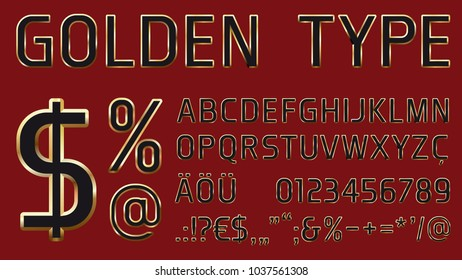 vector font with noble golden glossy outlines including letters, numbers and additional characters for headlines and commercial use