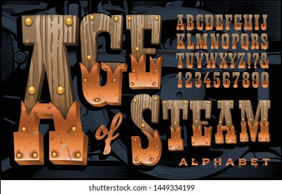 Vector font; A rustic alphabet constructed of old wood, copper, and brass tacks.