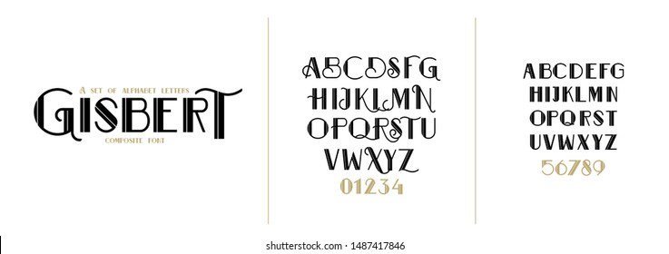 vector font set. decorative font art deco. set of letters in the style of the 80s and 70s. direction in the design of the period of Art Deco