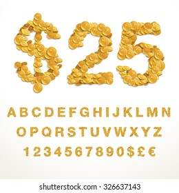 Vector font style made of enormous amount of coins. Latin alphabet from A to Z with numbers and currency symbols.