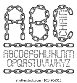 Vector font, trendy typescript can be used in poster creation. Capital decorative letters, abc created using connected chain link.