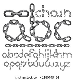 Vector font, trendy typescript can be used in poster creation. Lower case decorative letters, abc created using connected chain link.