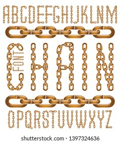 Vector font, trendy typescript can be used in poster creation. Upper case creative letters  made with steel chain link, joined link.
