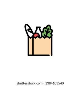 Vector food bag icon template. Farmers market paper box illustration. Line grocery logo background