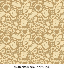 Vector food bakery seamless pattern with baked goods icons. Flour products from pastry shop. Illustration for print, web. Original design element