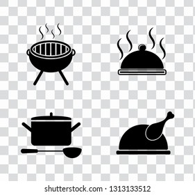 vector food cooking icons set. kitchen & restaurant sign symbols isolated
