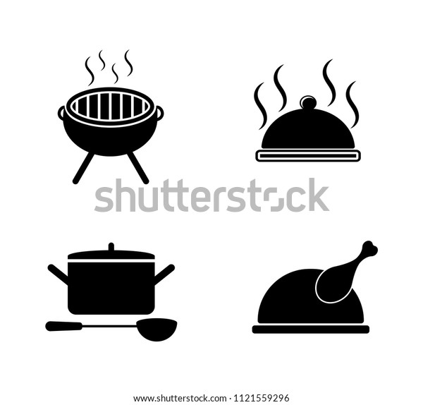 842f5b124 vector food cooking icons set. kitchen & restaurant sign symbols isolated