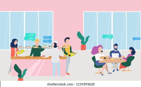 Vector food court in a shopping mall. Workers buy food and drinks. Food court in business center. Character flat design vector illustration.