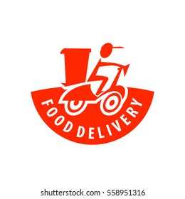 Vector food delivery, icons, logo and illustrations, man