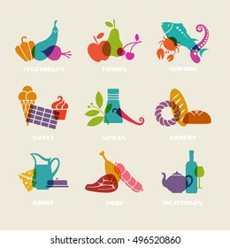 Vector food, drink icon. Set of sign for menu, market. Vegetables, fruits, seafood, sweets, spices, bakery, dairy, meat, beverages logo template. Healthy lifestyle illustration for print, web