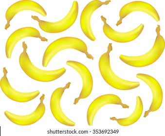 Vector food and drink seamless pattern with realistic bananas